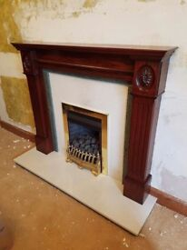 FIREPLACE with Gas Fire - Granite hearth and flat back Granite Panel