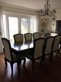 Provençal Style Black Extending Dining Table + 10 chairs