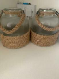 Glass and rope jar/ lanterns