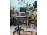 Computer desk, desk chair, freeview box and TV for sale.
