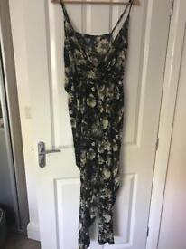 Printed, silk feel jumpsuit with plunging neck