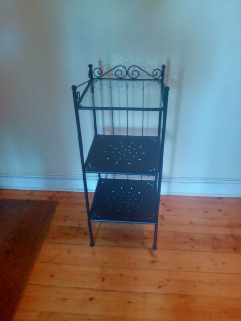 Ikea Ronnskar Shelving Unit - black frame with glass top | in ...