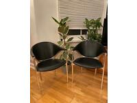 Vintage Italian designer leather and steel chair