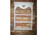 Shabby chic chalky grey and white wall shelf unit