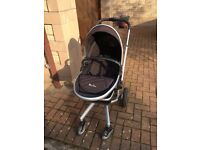 Silver Cross pram plus baby insert, sun and rain covers and buggy board