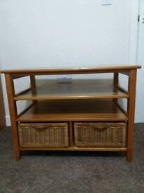 Two drawer solid wood cabinet table