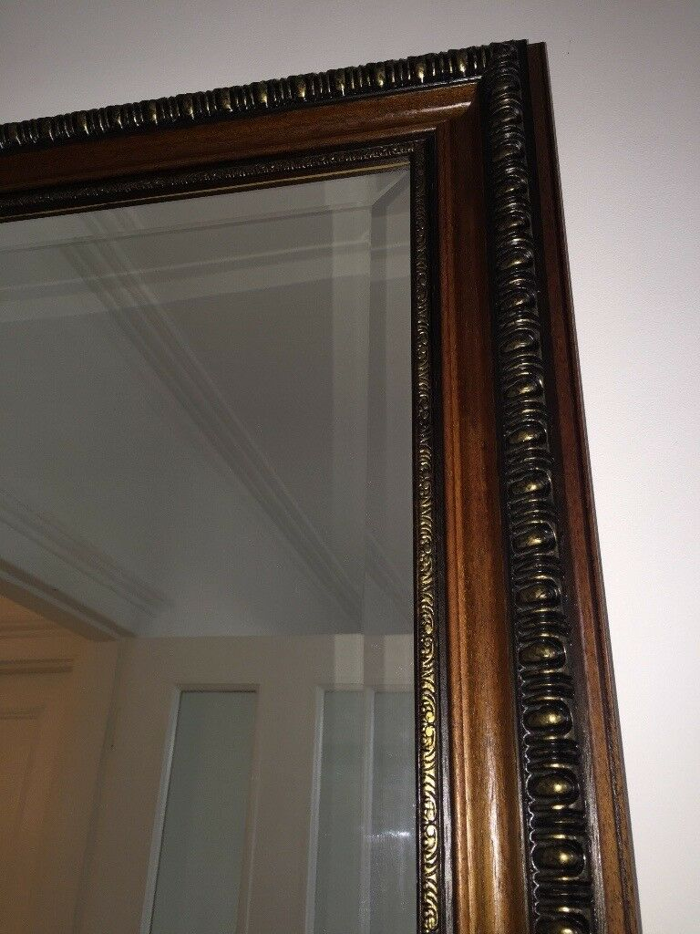 Large Mahogany and Brass Bevelled Mirror
