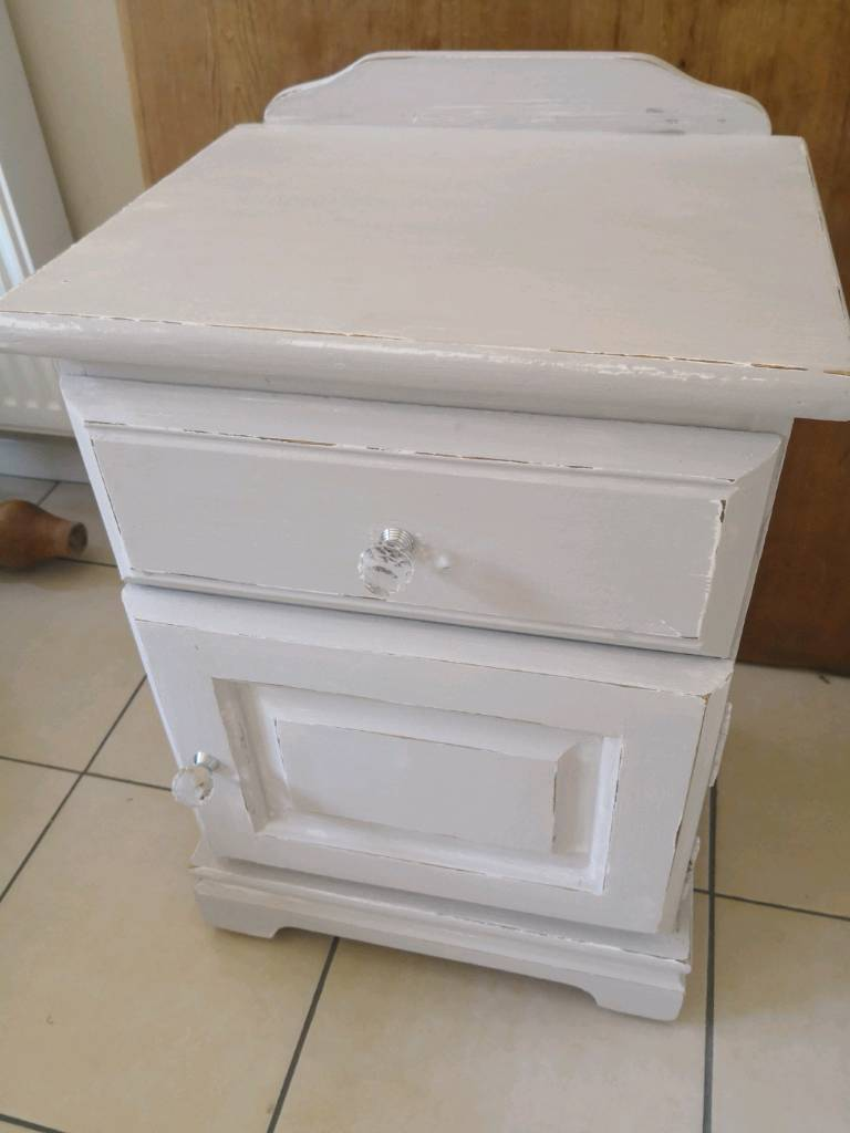 Lovely Shabby Chic Distressed Grey White Bedside Table Or Cabinet In Woodley Berkshire Gumtree