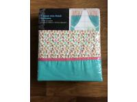 Tab top curtains with tie backs, brand new unopened.
