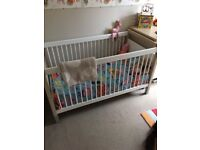 Nursery furniture set with cot