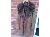 brown sheep skin over coat