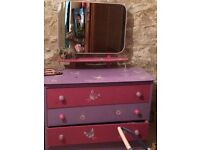 Chest of drawers with mirror. Handpainted and stencilled in purple and pink