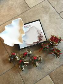 Maxwell & Williams White Christmas Tree Dish (NEW) + 8 Christmas Napkin Rings