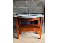 920 mm Used ceramic sink and 2 drawer wooden vanity unit with mixer tap - Floor Standing