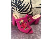 Pink suede effect heel open toe shoes with rose flower embroidered detail Size 5