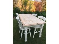 Laura Ashley painted Farmhouse table and oak chairs