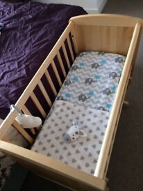 Mothercare Gliding Crib with Mattress and Bedding