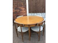 Vintage mid century teak g plan fresco extending round dining for table and chairs