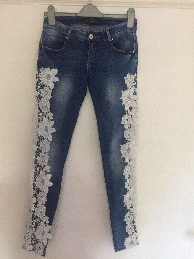 Reality Patterned lace jeans, woman's size 38/10