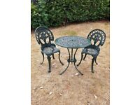Cast Aluminium Ornate Garden Table and Two Chairs Set