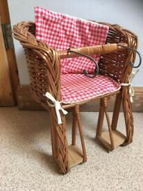 Wicker doll's basket chair