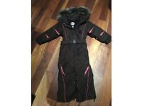 Degre7 girls brown and pink ski suit Age 6.
