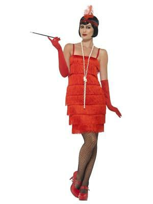 WOMEN'S FLAPPER, GREAT GATSBY COSTUME, RED SHORT DRESS, HEADBAND & GLOVES. (Great Costumes For Women)