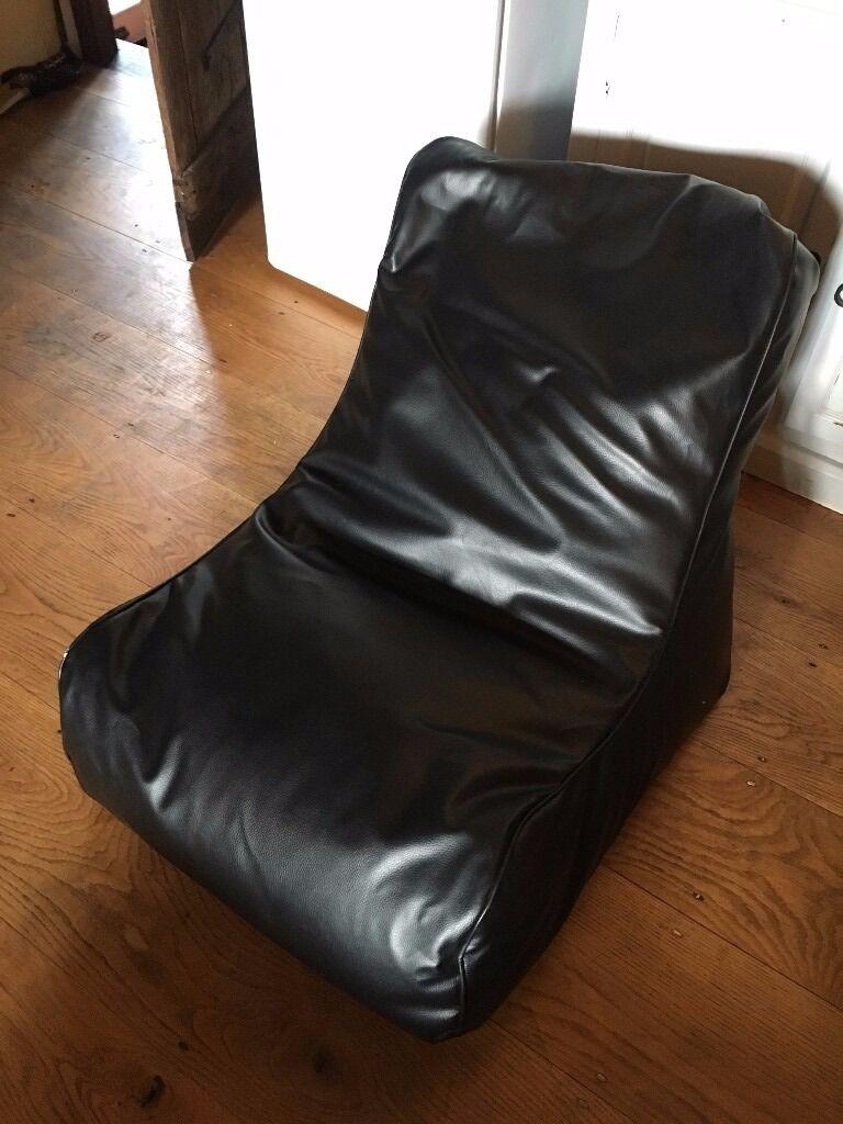 Black Faux Leather Bean Bag Chair