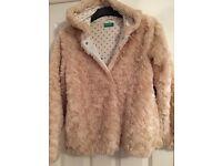 Girls fake fur jacket. Age 11-12 yrs