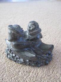 Wolf Original Inuit Sculpture and an Edmund Wolf Jr Bear Sculpture