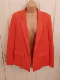 Oasis size 10 coral over-sized blazer with padded shoulders
