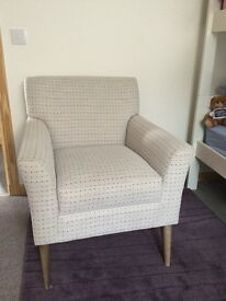 Immaculate cream armchair with same pink/purple spots ex M&S
