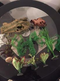 Aquarium fake plants + bog wood + plastic wood