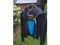 Superdry Womens Windbomber Jacket SIZE S Black Fur Hood in good condition