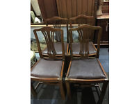 Lovely Set of Four 1940's Solid Oak Carved Splat Back Dining Chairs