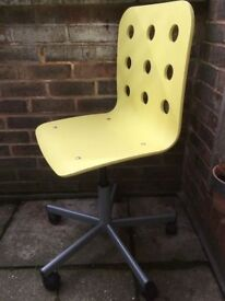 Office Swivel Chair. Lift Height Adjust Casters Yellow