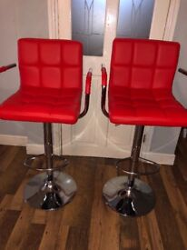 Havana faux leather red bar stools