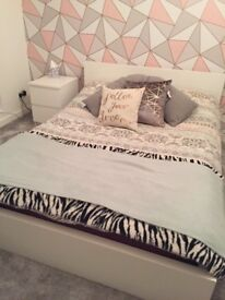 White Ikea MALM double bed frame - excellent condition