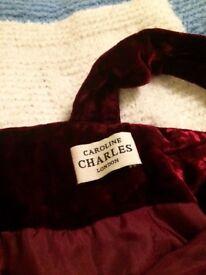Elegant soft Caroline Charles London vine red velvet dress (poss size 12)
