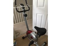 Excercise bike with 8 resistance settings. Battery operated display with adjustable seat.