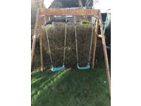 Double swing for children wooden frame