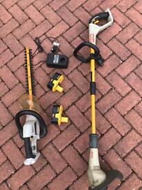 RYOBI 18v cordless hedge trimmer and grass trimmer 2 x 18v batteries and charger.