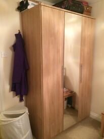 3 door mirrored Wardrobe (oak effect, excelllent condition, 8 months old)