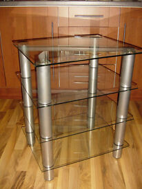 Glass Stand/ Display Unit with Chromed Metal Supports