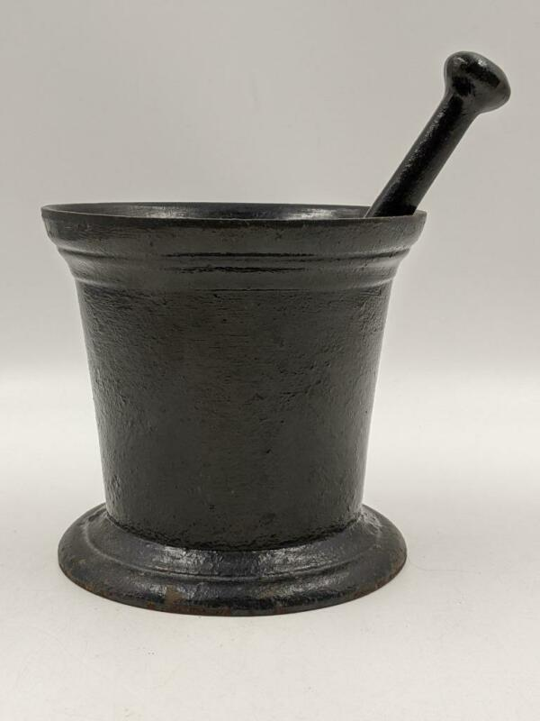 Large Antique 19th Century Cast Iron Mortar and Pestle – Apothecary Medicine Her