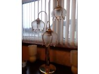 BRASS EFFECT TABLE LAMP LOUNGE LIGHTING 3 GLASS SHADES TOUCH DIMMER SWITCH LIGHT