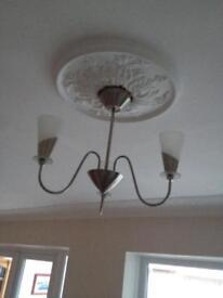 3 Poole Lighting Ceiling lights, 3 arm, chrome with bulbs