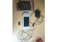 White PSP (console, charger, USB, 8GB memory, game)