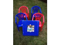 Children's plastic table and 4 chairs - job lot - new