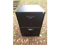 Triumph Superglider two drawer black metal A4 filing cabinet office furniture - used